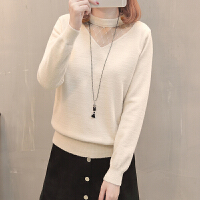 时尚女士毛衣蕾丝打底衫加厚秋冬新款韩版百搭长袖宽松色针织衫