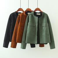 大码女装秋装款韩版毛边剪裁大口袋夹克衫立领长袖麂皮绒外套