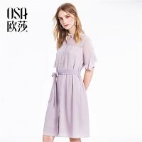 欧莎冷淡风雪纺小心机露肩连衣裙女夏2018新款极简显瘦超仙衬衫裙