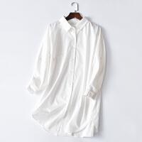 2018新款欧美男友风纯棉睡裙女春 BF风衬衫长袖中裙家居裙性感睡衣外穿 6076白衬衫裙