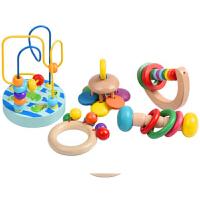 儿童手摇铃玩具木制手抓摇铃儿童乐器 婴幼儿早教益智玩具