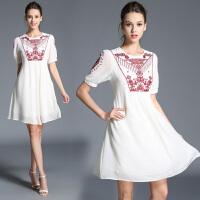 欧洲站女装夏季新款圆领短袖民族风刺绣宽松显瘦连衣裙a字裙