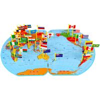 拼图世界地图插旗儿童认识立体拼图木制插旗配对游戏拼板早教玩具