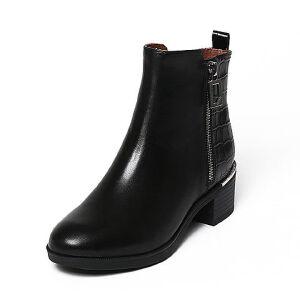【百丽集团夏季大促,5.28准时开抢】Belle/百丽冬专柜同款油皮牛皮女短靴BJH46DD6