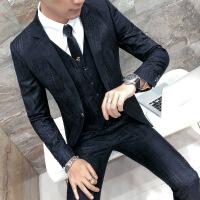 西服套装男 修身青年帅气正装商务休闲职业装男士西装 礼服三件套
