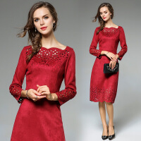 新款女装 冬裙加厚秋冬款春季打底收腰秋季长袖高端连衣裙装