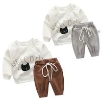 女婴儿长袖潮款卫衣服套装男宝宝春夏款休闲外出衣服