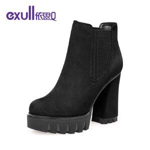 依思q冬季新款厚底防水台粗跟高跟短靴绒面套脚女靴