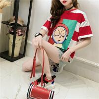 夏装t恤女短袖2018韩版条纹印花打底衫半袖体恤学生