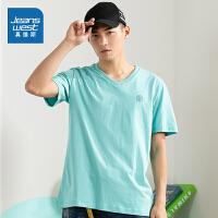 真维斯男装 夏季新款 纯棉平纹V领印花短袖T恤