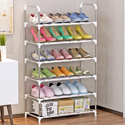 索尔诺/防锈钢管 收纳架 层架 架子储物架 6层简易鞋架xj-A06安装简易  轻松收纳18双鞋子