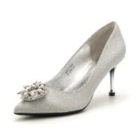 【满99减30】St&Sat/星期六 高跟细跟浅口婚鞋扣饰女单鞋SS81111639