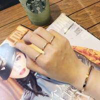 潮人玫瑰金小指钛钢镀18k彩金光面简约超细戒指尾戒指女饰品