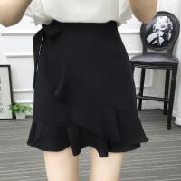 胖mm�~尾裙半身裙夏季大�a�色高腰短裙不��t荷�~�包臀裙200斤