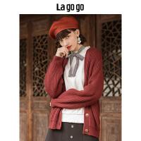 【5折价234.5】Lagogo2018秋冬新款纯色简约针织衫女长袖开衫短款上衣HCMM839A27