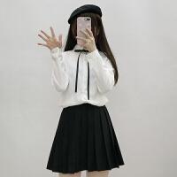 春季新款女装韩版学院风甜美纯色修身显瘦长袖衬衫女打底上衣学生