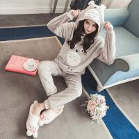 珊瑚绒睡衣女冬季韩版甜美可爱加厚龙猫秋公主风法兰绒家居服套装 YM888新龙猫法兰绒