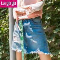 【5折价84.5】Lagogo2017夏秋新款纽扣字母腰带磨破毛边牛仔半身裙女高腰短裙