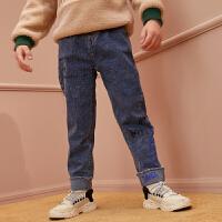 【1件4折:112】巴拉巴拉旗下巴帝巴帝男童加绒牛仔裤2019新款加厚裤子儿童秋冬外穿洋气女