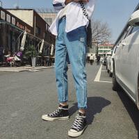 夏装新品纯色水洗百搭小脚牛仔裤男韩版青少年哈伦修身小脚牛仔裤
