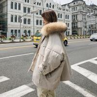 棉衣超大毛领韩版宽松工装女外套冬装学生面包服 图片色