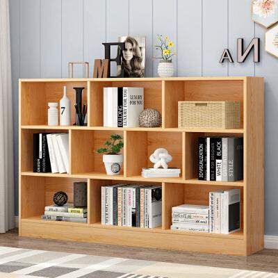 简易书柜书架落地简约置物柜收纳小柜子自由格子组合柜省空间学生 加厚板材