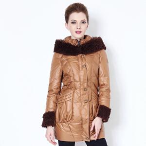 雅鹿羽绒服女中长款 修身时尚个性毛领连帽纯色冬装女外套YN21000
