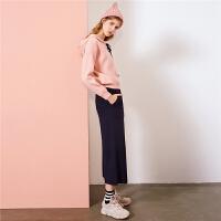 【满399减80】慵懒风毛衣女新款韩版时尚学生连帽粗线系带针织上衣女士