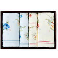 三利 纯棉方巾毛巾浴巾六件套 精致高级礼盒装 赠手提袋