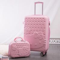 结婚拉杆箱儿童万向轮旅行箱子母箱行李箱登机包24寸女凯蒂猫20寸 (14寸+)子母箱