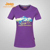 【反季清仓特惠】Jeep/吉普 女士户外舒适透气印花圆领短袖T恤J646107043