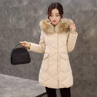 鸭鸭(YAYA)2018秋冬装女款外套中长款貂子毛领菱格压线大口袋羽绒服女B-2476