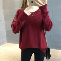 春装2018新款韩版宽松套头针织衫短款蕾丝毛衣女长袖镂空打底衫潮 酒