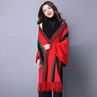 秋冬流苏斗篷羊绒披肩围巾两用加厚针织开衫女毛衣外套披风
