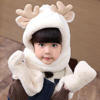 韩版秋冬季儿童卡通可爱毛绒男女宝宝保暖连帽围巾手套一体三件套