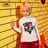 【3折价:44.4】小虎宝儿儿童长袖t恤男童2019秋冬新款高领纯棉打底衫中大童洋气