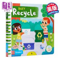 【中商原版】Busy Books系列 繁忙环保 Busy Recycle 机关操作益智游戏书 低幼亲子启蒙绘本 纸板书