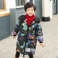男童棉衣2018冬�b新款�和�棉�\中�L款外套����冬季加厚保暖潮