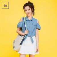 系带衬衣拉夏贝尔7m2017夏装新款韩版宽松短款修身牛仔衬衫上衣女70008071