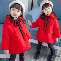 1岁儿童加厚毛呢子外套女童冬装红色大衣3宝宝4喜庆过年2洋气上衣 红色