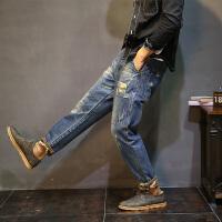 哈伦裤男士夏季韩版牛仔裤青少年复古小脚裤子宽松大码长裤 复古蓝