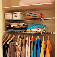 宝优妮 衣柜隔板 伸缩置物架收纳架分层储物架整理架宿舍衣柜撑棚