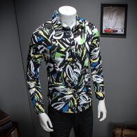 春装新款长袖花色衬衫青年韩版修身方领男装碎花免烫男潮衬衫