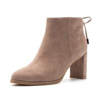 星期六(ST&SAT)冬季专柜同款绒面羊皮革系带女式短靴SS84116488