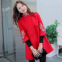 改良唐装女装秋冬装新款2018中国风旗袍红色连衣裙子新年冬季毛呢