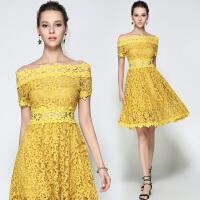 夏季新款欧美女装水溶拼接蕾丝连衣裙一字肩镂空收腰A字裙潮