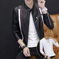 皮衣男士秋季新皮夹克潮流时尚帅气男式外套修身学生青年男装