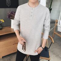 秋季纯色棉麻长袖T恤男修身大码中式复古上衣衬衫潮流男装中国风