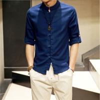 中国风潮男士夏季棉麻衬衫亚麻立领盘扣七分袖衬衣复古男唐装