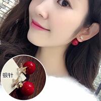 红色耳环韩国气质耳饰品个性吊坠简约百搭耳坠长款创意珍珠耳钉女